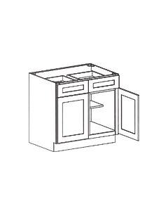 2 Door 2 Drawer Base Cabinet-Shaker White