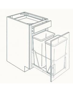 Base Trashcan Pullout Cabinets-Shaker White